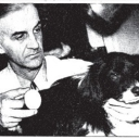Ruebush is pictured here in April of 1937 after he had removed a record gallstone from Flip, a black and white collie.